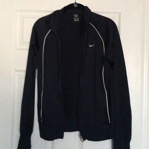 Nike navy blue zip up track jacket with white trim